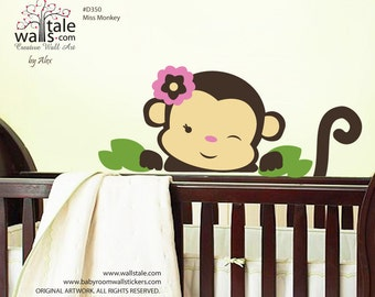 Miss monkey wall decal for nursery,kids room