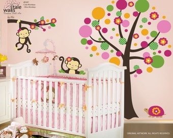 Miss Monkey Bedding, Monkey Stickers for Girls room (d287)