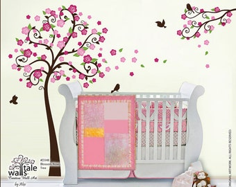 Tree Wall Decal - Blossom Roses Branch wall decal with birds stickers for nursery