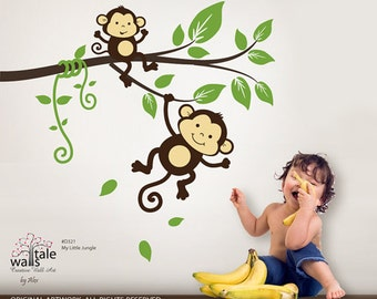 SALE Monkey wall decal, My little jungle monkeys wall decal