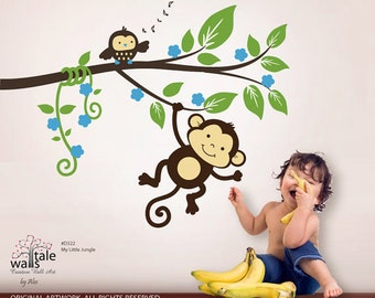 Jungle wall decals - Monkey decals,My little jungle monkeys wall decal