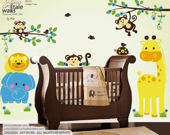 SUPER- Jungle wall decal,  Jungle Time wall decal. Jungle animals wall decals.