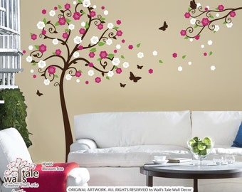 TREE WALL DECALS -Blossom Tree wall sticker with butterflies stickers and blossom branch.