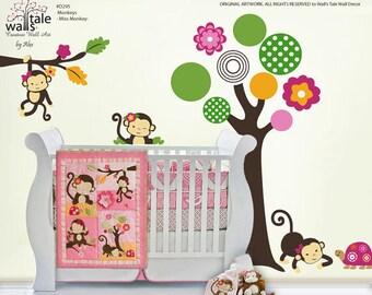 Miss Monkey stickers, Girl Monkeys decal based on Monkey bedding (d295)