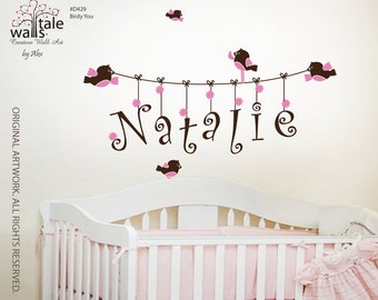 Wall Decal   - Name wall decal for girl or boy nursery with cute birds. Customiazble, removable nursery wall decal.