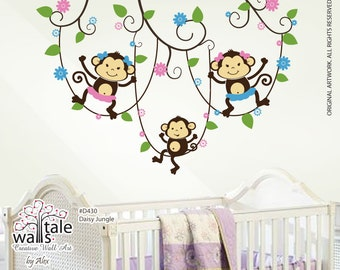 Daisy Jungle with monkey wall decal for triplets, twins, sisters,brothers. Jungle with monkey wall decal for nursery, playroom.