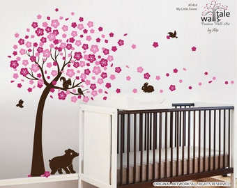 Cherry tree decal for nursery with birds decals, bear decal, squirrel and rabbit/bunny wall decal.Forest wall decal with animals. d334