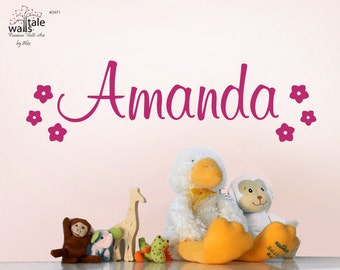 SALE - Name wall decal with flowers decals for your girl's nursery