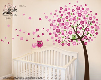 Cherry Tree with Owls wall decals  - 3 cute owl decal with blossom tree for nursery.