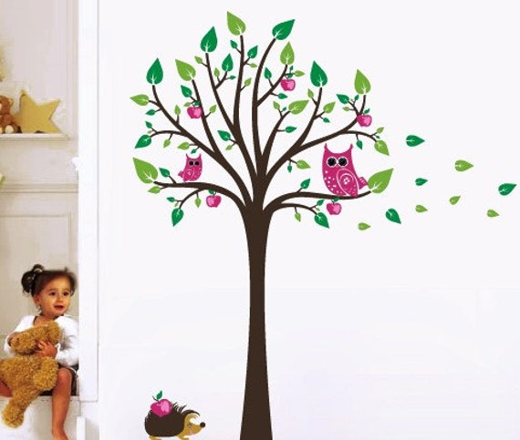 Apple tree with owls, hedgehog and apples wall stickers for nursery or kids room