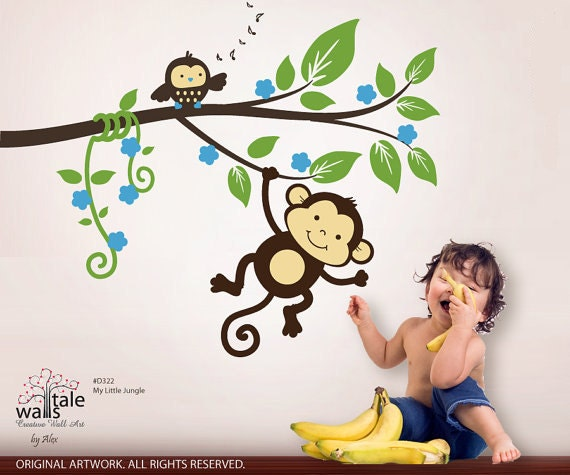 jungle wall decals monkey decals my little jungle monkeys wall decal