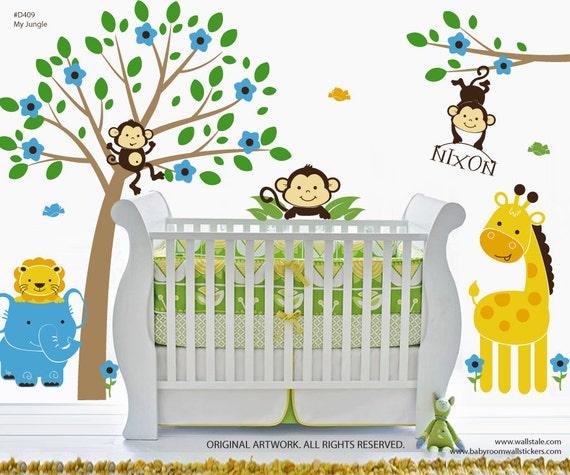 Items similar to jungle wall decal bananafish jungle for Sticker decorativos para ninos