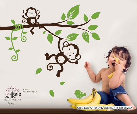 sale monkey wall decal my little jungle monkeys wall decal for boy or