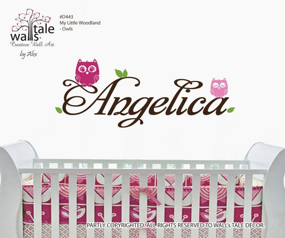 Owls wall decal with custom name for baby room/nursery,kids room. Owl wall stickers.d443