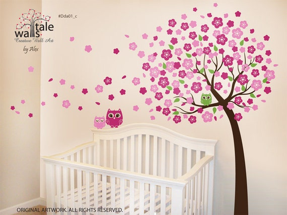 Cherry Tree with Owls wall decals - 3 cute owl decal with blossom tree for  nursery