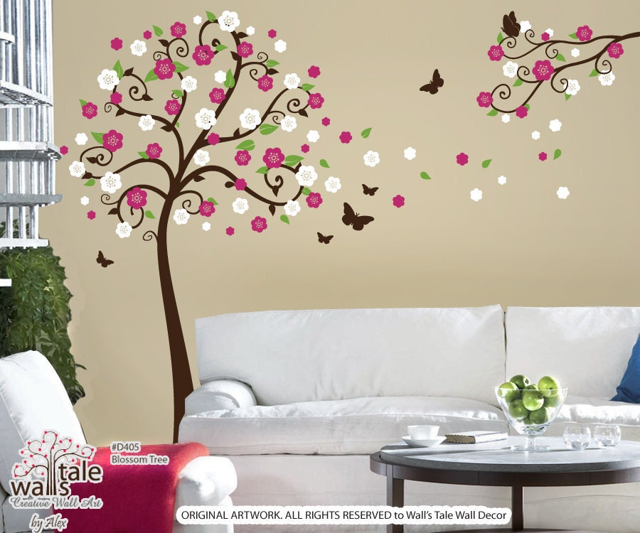 Tree wall decals blossom tree wall sticker with by for Stickers muraux