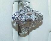14K Art Deco 3 Diamond Filigree Ring WG Sz 7 Estate Pc