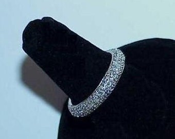 14K 1.00ct Diamond Pave Encrusted Eternity Band White Gold Size 6 1/4 Wedding or Other