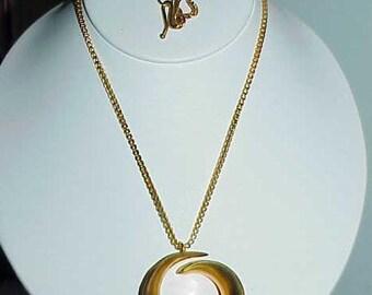 "Necklace Haute Couture Heavy 18K Goldplate Mod Snail  36"" Chain Runway Vintage"