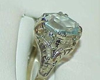 14K Aqua Solitaire Art Deco Filigree Ring White gold  Sz 4.25