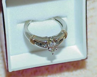 14k Marquise Diamond Solitaire Diamond Ring 2 Tone Gold Size 5.75
