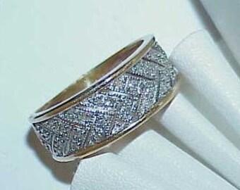14K Diamond V Band Ring Wedding Sz 5.75 2 Tone Gold Wide band
