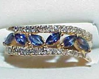 18K .65ct Marquise Sapphire Diamond Band Ring Yellow Gold Sz 7 Elegant Deco Revival