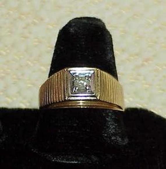 10K Men's Pave' Diamond Solitaire 2 Tone Ring Vintage