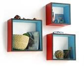 Gloss Red Square Leather Wall Shelf / Bookshelf / Floating Shelf (Set of 3) TRI-WS120-SQU