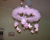 Pink Tulle and Butterfly Mobile