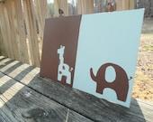 Elephant and Giraffe Jungle Nursery Art Aqua and Brown -  Set of 2 8x10 paintings