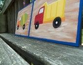 Construction Decor Dump Truck Cement Truck Boy Room art - set of 2 9x12