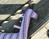 Baby girl rattle Toy, Plush giraffe toy Pink and Purple Polka dots