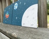 Outer Space Nursery Boy Room Decor Alien Moon and Earth  wall hangings- set of 2 8x10 paintings