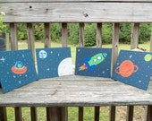 Outer Space Room Decor Alien Rocket Planets Moon Earth wall hangings -  set of 4 8x10 Paintings