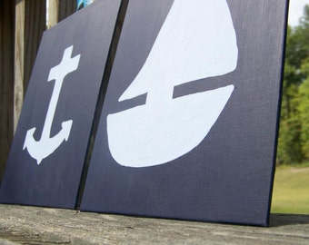 Nautical Nursery Decor Sailboat and Anchor wall hangings - Navy and Light Blue - set of 2 8x10 paintings