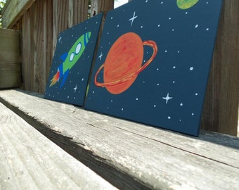 Outer Space Kid Room Nursery Decor Rocket // Space Shuttle and Planets paintings - 2 8x10 Canvas Boards