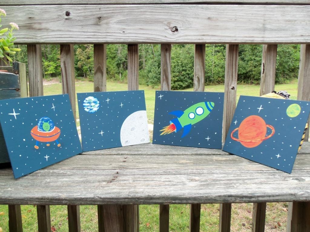 Outer space room decor alien rocket planets moon earth by - Outer space bedroom decor ...