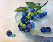 Blueberries leaves plate ink watercolor blue green shadow healthy organic lifestyle garden