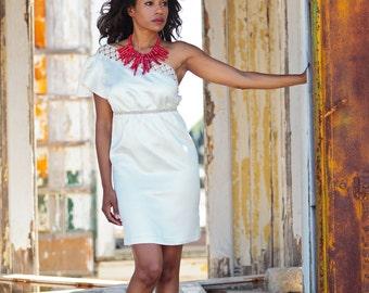 Free Ship Size 2 Short Wedding Dress Rehearsal Dress Graduation Dress White Party Dress Cream Silk Shift Dress Hemp Organic Cotton Lace