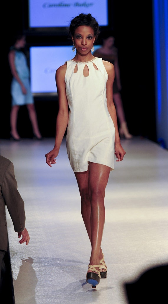 SAMPLE SIZE 0-2 Hummingbird Short Shorts Jumper Romper in Cream  with Lace Cut-Outs and Open Back (engagement, rehearsal)