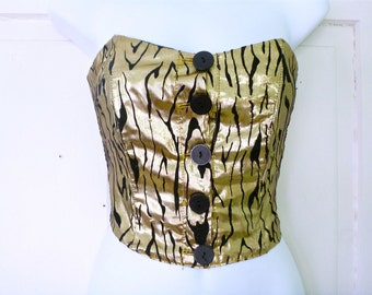 Vtg. Metallic Gold Bustier Top- 80s, Lady Gaga, S, Glam Rock, Tiger Print