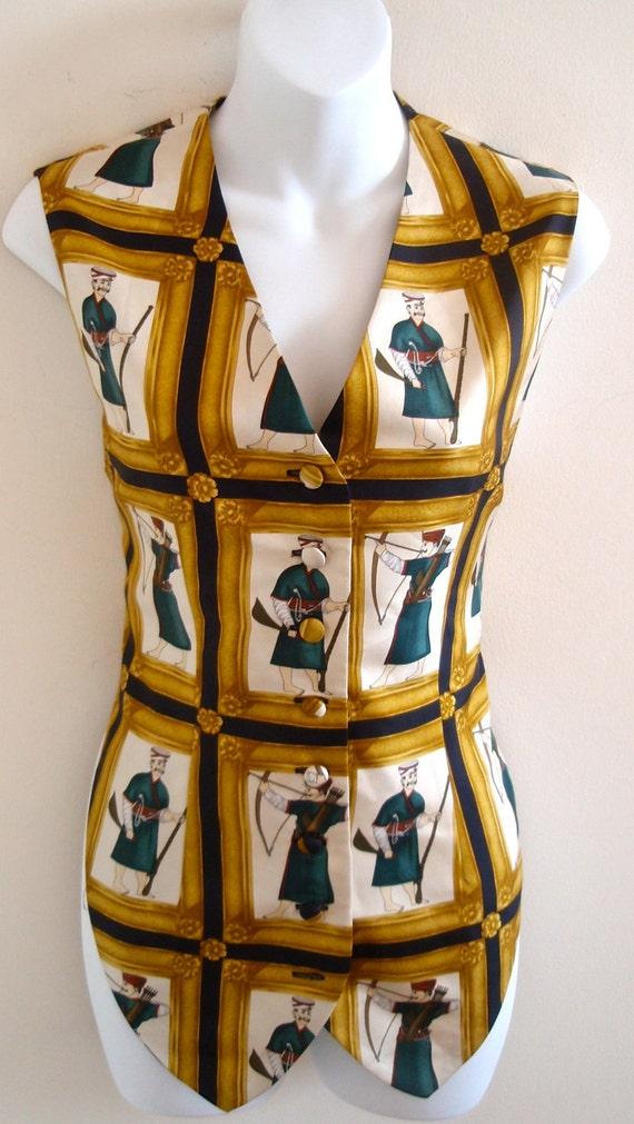 Vintage 80s Unisex Luicano Tempesta Graphic Soldier Vest/ Top- P, XS, S, Hipster, Armenian, Tank Top