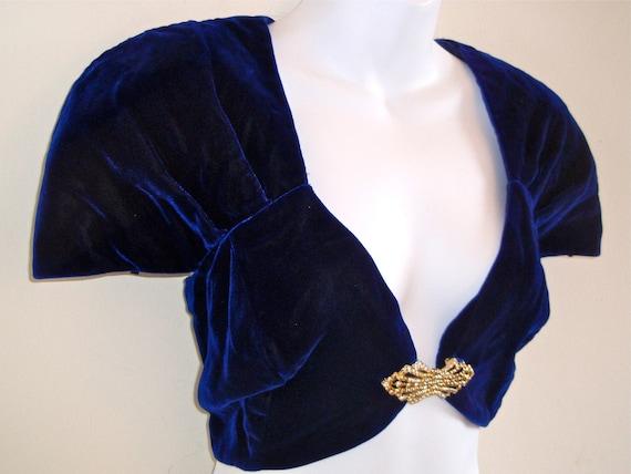 Velvet Bolero- 80s Royal Blue Jacket- Med, Lrg, 9, Avant Garde, Lady Gaga