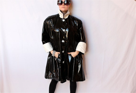 Avant Garde Goth PVC Vinyl Coat w/ Batwing Sleeves, White Cuffs and Collar, 80s, SALE