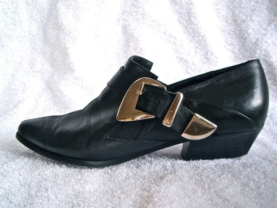 Ankle Biker Winklepicker Boots w/ Silver Buckle- 6, 7, Motorcycle, Goth, Grunge, Winklepicker