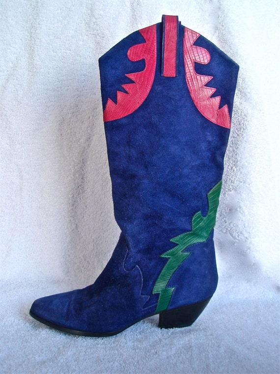 80s Purple Suede Boots w/ Heel- 8, 7, Aztec, Green, Pink, Winter