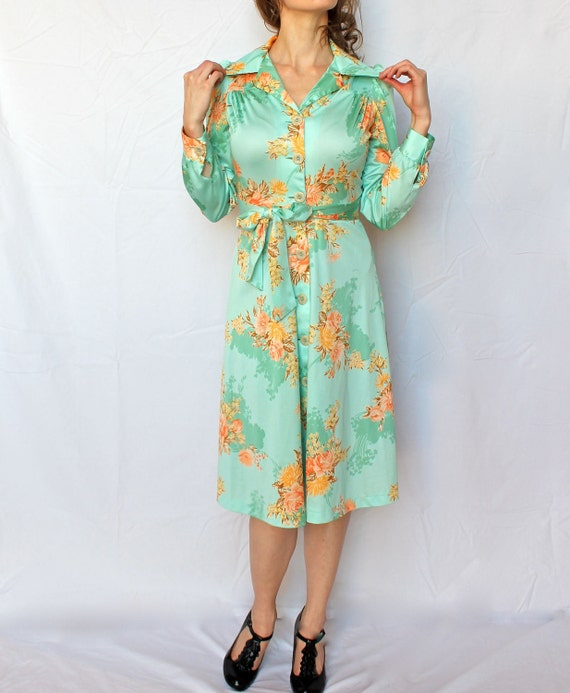 Vintage Mint Green Secretary Day Dress- Small, 70s, floral, Orange, Knee Length