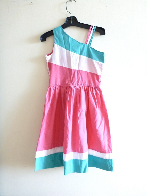 One-Shouldered Day Dress- XS, SALE Small, Pink and Teal, Cold Shoulder