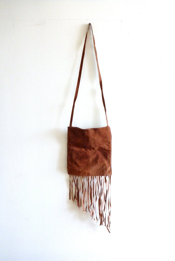 90s Suede Tassle, Fringe Bag- Boho, Hippie, Camel, Wilsons Leather